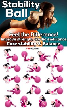 What's the deal with those big bouncy balls taking up space around the gym? Stability balls — also called exercise balls, balance balls, Swiss balls, or fitness balls — are more than just fun to sit. Gym Workout Tips, Fitness Workout For Women, Fitness Tips, At Home Workouts, Muscle Fitness, Bike Workouts, Workout Men, Fitness Products, Muscle Food
