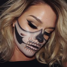 HAPPY HALLOWEEN  Half Skull makeup inspired by @cosmeticsbyanna who was inspired by @chrisspy!