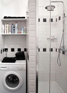 Bagno piccolo con lavatrice (Foto) | Designmag