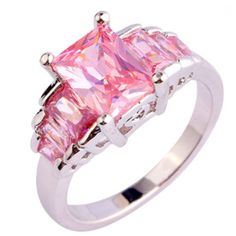 ef602edae642 Passione Rosa - Romantic Love Emerald Cut Pink Topaz Silver Cocktail Ring