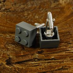 Modern Lego Brick Cufflinks On A Silver Backing - Simple and Stylish Cuff link Design - Dark Grey Cufflinks For Men Cool Lego, Awesome Lego, Blue Suit Wedding, Anniversary Gifts For Him, Lego Brick, Easy Gifts, Silver Cuff, Dark Grey, Modern