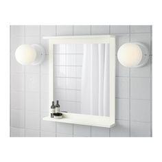 SILVERÅN Mirror with shelf, white 22x25 1/8