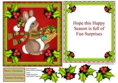 Christmas Bunny Green Holy Topper Insert Decoupage on Craftsuprint - Add To Basket!
