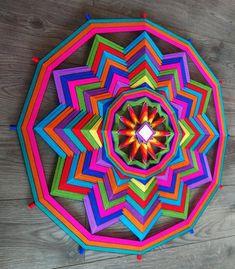 Ojo de DiosGods eyeEthnic home decorWeave wall hangingMandala tapestryWall hanging tapestryBoho art Woven Wall Hanging, Tapestry Wall Hanging, Diy Arts And Crafts, Diy Crafts, God's Eye Craft, String Art Diy, Tibetan Mandala, Ethnic Home Decor, Gods Eye