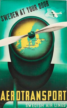 Sweden at your door. Aerotransport Swedish Airlines. Poster by Anders Beckman (1907-1967). (Swedish)