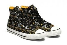 Converse Cotton Grey Yellow Snowflake Plaid Chuck Taylor All Star Black Canvas High Top Winter Wear Shoes Sale