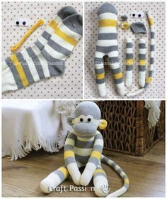 15 DIY plush toys with recycling - 15 DIY plush toys with recycling - . - 15 DIY plush toys with recycling – 15 DIY plush toys with recycling – - Diy Toys Easy, Easy Diys For Kids, Diy Crafts To Do, Sock Crafts, Kids Crafts, Easy Crafts, Crafts With Socks, Diy Plush Toys, Baby Diy Toys