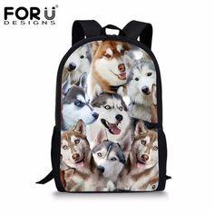 edee1cf2485 FORUDESIGNS Women Canvas Backpack Cute 3D Animal Pug Dog Puzzle Printing  School Backpack for Children Men Travel Rucksack Kids