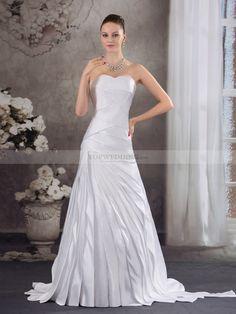 Malisha - Trägerloser Ausschnitt A-Linie Stretch-Satin Brautkleid mit Faltenkleid