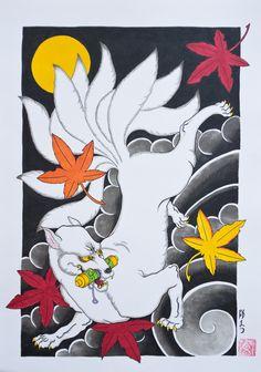 White Kitsune carrying a hidden scroll - By Horimatsu