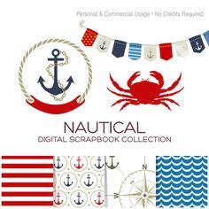 Nautical Clip Art Sailor Clipart Anchor Clipart Crab Clipart Bunting Banner Clipart Striped Paper Nautical Digital Paper Red Blue - CN00001