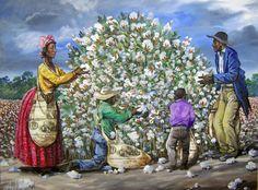 Title: Enslaved Family Picking MS Cotton Artist: John W. Jones Medium: Mixed Media Collage On Canvas