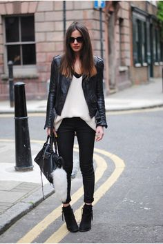 Black, white and leather - #edgystyle #streetstyle