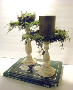 Shabby Chic Moss and Glass Candle HolderPick your by teresab123, $25.00