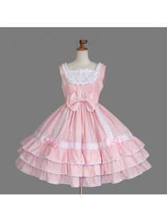 Pink Sleeveless Ruffles Bow Sweet Lolita Dress Lolita Dresses, #Lolita Dresses, Lolita