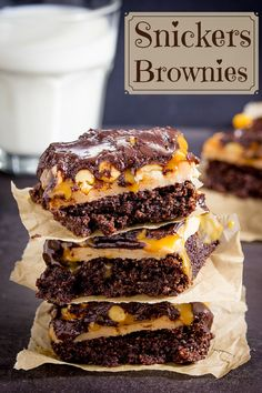 Snickers Brownies - Rich and sweet with peanut nougat and salted caramel layers. You really don't need much to satisfy that sweet tooth!