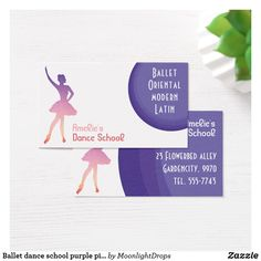 Ballet dance school purple pink business card
