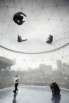 'Observatory, Air-Port-City, 2008', an installation on the central sculpture terrace at the Hayward Gallery, London, by Tomás Saraceno  (built with the help of a special construction of the geodesic structure by ZENDOME)