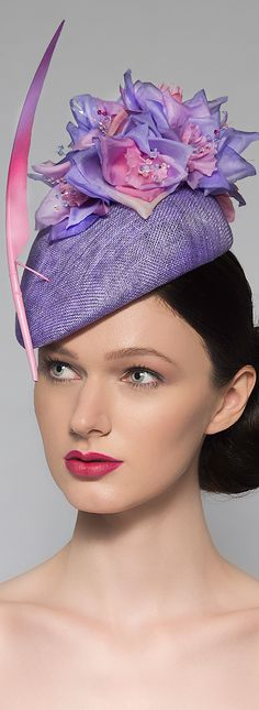 Lilac Pink Beret Floral Hat available made to order in any colour you require. Handmade in the UK Millinery Tocados. Racing Fashion. Fashions on the Field, Oaks Day Melbourne Ladies Day, Mother of the Bride, Weddings. Silk Flowers and Swarovski Crystal Stemens. #oaksday #millinery #flowers #floralhat #fashion