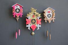 Neon Pink & Gold Cuckoo Clock Working by GallivantingGirls on Etsy, $155.00