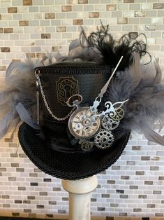 Excited to share this item from my shop: Black Steampunk Mini Top Hat or Fascinator Steampunk Hat, Steampunk Clothing, Steampunk Fashion, Steampunk Necklace, Gothic Fashion, Victorian Fashion, Fashion Fashion, Top Hats For Women, Mad Hatter Hats
