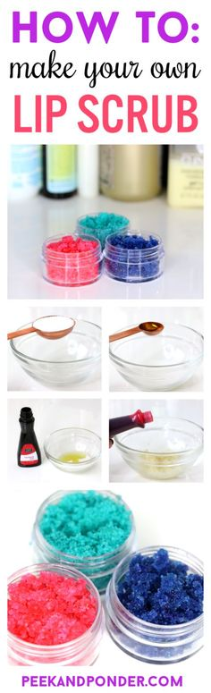 How to Make Your Own Lip Scrub is part of crafts Gifts Lip Balm - DIY lip scrub! A recipe, easy stepbystep instructions, and video on how to make your own lip scrub with ingredients from your kitchen! Lip Scrub Homemade, Diy Lip Scrub, Mini Pizza, Pizza Pizza, Sugar Scrub Recipe, Diy Lip Balm, Do It Yourself Fashion, Diy Spa, Homemade Beauty Products