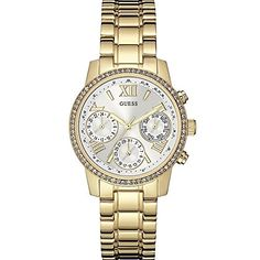 Guess Womens MINI SUNRISE 365mm GoldTone Dial Steel Bracelet  Case Quartz Analog Watch W0623L3 ** Learn more by visiting the image link.Note:It is affiliate link to Amazon.