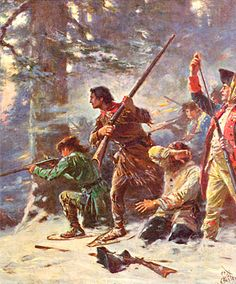 Protestant forces of Robert Rogers & his Rangers (Scots-Irish) attack catholic settlers at the Battle on Snowshoes.  On January 21, 1757, Captain Robert Rogers and a band of his rangers were on a scouting expedition near Fort Carillon on Lake Champlain