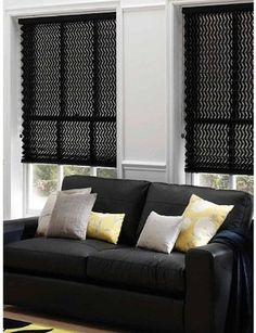 High-Contrast Shades by Stoneside Blinds. Call Stoneside Blinds at for your complimentary consultation. Ask for Melanie to receive off your entire purchase! Blinds For Windows, Curtains With Blinds, Rollo Design, Black Blinds, Honeycomb Blinds, Kitchen Shades, Black Accent Walls, Black And White Living Room, Custom Blinds