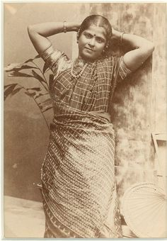 Old Indian sari | Studio Photograph of a Lady in Sari - c1880 - Old Indian Photos