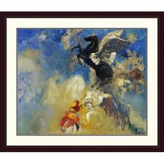 Global Gallery 'The Black Pegasus' by Odilon Redon Framed Painting Print Size: