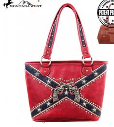 Rebel pride/ spirit concealed handgun purse with crossed pistols on the front. Bars and stars.    Made of Vegan leather , this western tote bag has:    Silver double pistols on the front    Embellished with silver stars. studs and rhinestones    Concealed handgun zippered pocket (9 x 5.5)    A zipper enclosure for the entire purse    Inside single compartment divided by a medium zippered pocket    Inside of bag include a zippered pocket and 2 open pockets    An open pocket on the back…