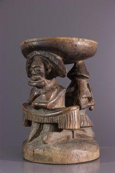 Tabouret de prestige Tchokwe - Chaise - Art africain #ArtAfricain #Tabourets,chaises,trônes #Chokwe