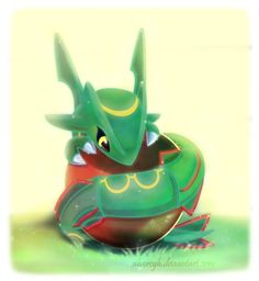 Such a cute baby Rayquaza. I wish there were babies in pokemon ...