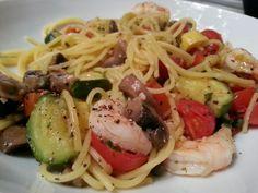 Quinoa noodles, veggies, shrimp, in a caper pan sauce.