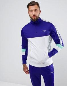 Illusive London Muscle Track Jacket In Purple With Half Zip - Purple