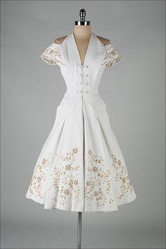 1950's vintage dress- stunning shoulder detail