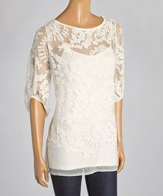 Love this Ivory Semi-Sheer Floral Lace Scoop Neck Top & Cami by Chelsea & Theodore on #zulily! #zulilyfinds