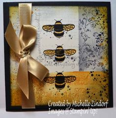 Oh Bumble Bee – Stampin' Up! Card created by Michelle Zindorf - Dragonfly Dreams and Timeless Textures Stamp Sets