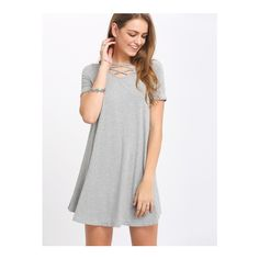 SheIn(sheinside) Grey Crisscross Short Sleeve Casual Dress ($17) ❤ liked on Polyvore featuring dresses, grey, short sleeve dress, grey shift dress, summer dresses, short-sleeve dresses and gray summer dress