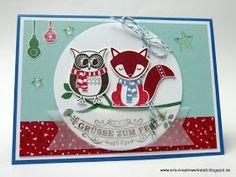 """Weihnachtskarte mit """"Cozy Critters"""" Fuchs und Eule Stampin' Up! www.eris-kreativwerkstatt.blogspot.de"""