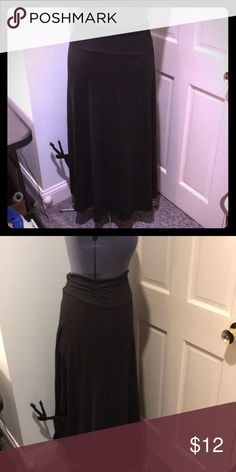 💥SALE💥Long Black Skirt Long Black Skirt - Knit blend. Ruching at the sides. A-line. Skirts Maxi