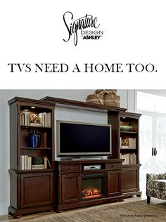 TVs Need a Home Too - Porter TV Stand - Entertainment Wall - Ashley Furniture - #AshleyFurniture - Furniture and Accessories