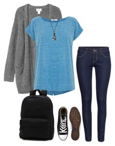 """""""One minute to..."""" by kate-dep-dep on Polyvore featuring мода, Monki, Oasis, H&M, Converse, FOSSIL, Vans, converse, backpack и sneakers"""