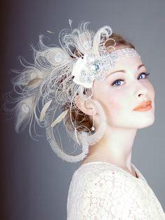 Ivory Peacock Feather Flapper Headband : Bridal : Deanna DiBene Millinery
