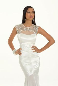 Beaded Neckline Satin Prom Dress from Camille La Vie and Group USA