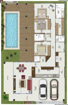 House Plans: 60 Modern, Small and Photo Options Pool House Plans, Sims House Plans, House Layout Plans, Dream House Plans, Small House Plans, House Layouts, Small House Design, Modern House Design, Bungalow Haus Design