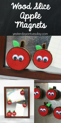 DIY Wood Slice Apple Magnets, a fun and useful back to school project.