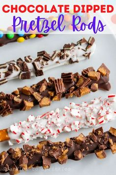 Desserts To Make, Best Dessert Recipes, Holiday Desserts, Delicious Desserts, Chocolate Dipped Pretzel Rods, Good Food, Yummy Food, Best Instant Pot Recipe, Party Food And Drinks