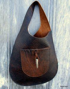 f44ab4f5f3c Lederen tas hand gemaakt in verontruste bizon leder-met herten gewei-Bonnie  cashin geïnspireerd eenvoudige chique Boho Boho stijl door Stacy Leigh